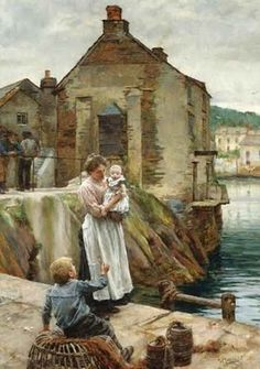 Walter Langley - On the Quay, Newlyn