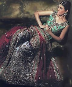 Lavender/Green Sharara with dramatic and heavy embellishments.