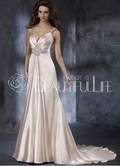 Low Cut Taffeta Beading Empire Waist V-neck Bridal Dress With Under Bust Applique Decoration
