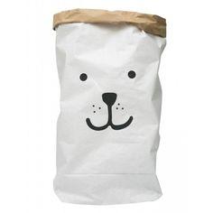 Papiersack/Paperbag 'Bär' weiß/braun ca. 55x80cm