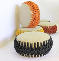 Marigold Poufs – Gotta na phool poufs The Marigold Pouf collection is inspired from the marigold flowers from India that are used for rituals and other auspicious occasions for various ceremo… Fabric Manipulation, Origami, Ottoman, Textiles, Chair, Felt, Inspiration, Furniture, Collection