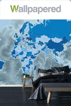 The Stunning Cool Blue World Map Wallpaper Mural is a brilliant choice. Suitable for a variety of rooms. A Slick design with icy cool tones. World Map Mural, World Map Wallpaper, World Map Design, Blue Colour Palette, Showcase Design, Cool Tones, Blue Tones, Wall Murals, Backdrops