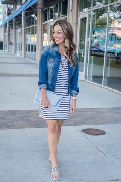 Striped Shirt Dress | Honey We're Home | This dress is stretchy, comfy perfection and with everybody's favorite stripe pattern! #stripedshirtdress #shirtdress #honeywerehome