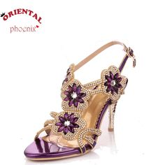53.31$  Buy here - http://alix8d.worldwells.pw/go.php?t=32592892990 - 10 42 sexy flower rhinestone sandals woman 2016 summer elegant high heels ankle belt summer shoes sandalias femininas salto fino 53.31$
