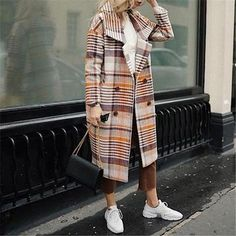 Coats&Jackets – Page 2 – Wearcrazy Trench Coat Sale, Casual Outfits, Fashion Outfits, Women's Fashion, Fashion Styles, Plaid Coat, Plaid Jacket, Office Fashion, Everyday Fashion