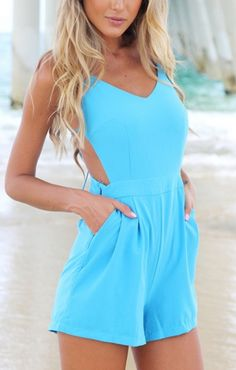 Blue Backless V-neck Sleeveless Beach Jumpsuit