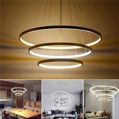 LED Ceiling Pendant Dimming Ring Light Holder Lamp Shade Fixture Home Living Ceiling Pendant, Led Ceiling, Pendant Lamp, Led Chandelier, Home Living Room, Living Room Decor, Lustre Led, Luminaire Design, Lampe Led