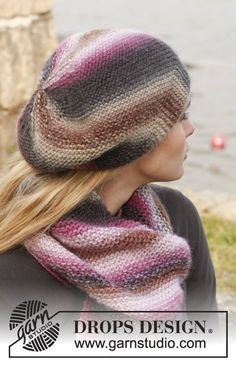 """Set consists of  Knitted DROPS hat and scarf in garter st in """"Big Delight 547b9d94404"""