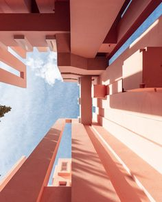 The Calpe housing estate La Muralla Roja, which translates into English as the Red Wall. Ricardo Bofill, Building Stairs, Internal Courtyard, Perspective Photography, Architectural Photographers, Red Walls, Rooftop Terrace, Photo Series, Beautiful Architecture