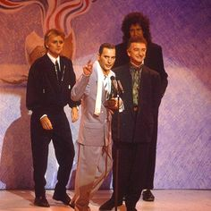 Feb 18 1990, Freddie Mercury makes his final public appearance joining the rest of Queen to collect the Brit Award for Outstanding Contribution to Music,  #FreddieMercury, #Queen