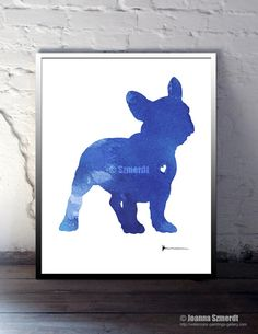 Fench Bulldog Sign Blue Dog Portrait Custom Pet by Silhouetown