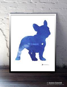 Fench Bulldog Sign Blue Dog Portrait Custom Pet by Silhouetown