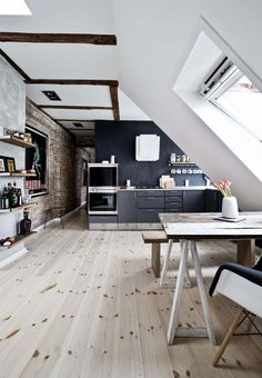 Living in an attic apartment can have its challenges; the lack of space, the low ceiling, and the lofty-feeling can all make the living space feel tight. B Comfortable and Cozy: 30 Attic Apartment Inspirations Jessica Mattila jemattil Home Living i Attic Apartment, Apartment Design, Apartment Interior, Apartment Ideas, Apartment Layout, Apartment Kitchen, Apartment Living, Home Interior Design, Interior Architecture