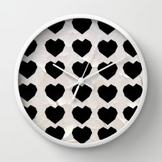 Black Hearts to Crumble Wall Clock #wallclock #time #wall #clock #hearts #polkadots #blackandwhite #black #white #pattern #shapes #modern #vintage #eggshell #texture #office #homedecor #decor #art #design