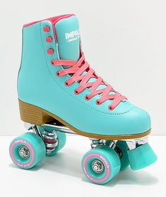 Grab your girl gang and get your roll on in the Aqua Roller Skates from Impala Rollerskates. Paying homage to the golden years of roller skating, Impala Rollerskates has created a range of high quality skates in exciting colorways and style trends that wi Roller Skates For Sale, Retro Roller Skates, Roller Skate Shoes, Quad Roller Skates, Roller Derby, Roller Skating, Light Up Roller Skates, Outdoor Roller Skates, Roller Disco