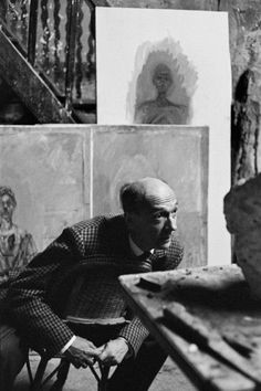 """breezingby: """"hauntedbystorytelling: """" Henri Cartier-Bresson :: Sculptor Pierre Josse at Alberto Giacometti's atelier, rue Hippolyte Maindron, Paris, 1961 """" """"All the lonely people Where do they all. Candid Photography, Urban Photography, White Photography, Street Photography, Color Photography, Abstract Photography, Nature Photography, Travel Photography, Fashion Photography"""