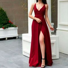 Sexy Red Prom Dress , Spaghetti Straps Party Dress,V Neck Prom Dress With Side Slit - Tulle V-Neck A-Line Long Prom Dress with Real Appliques, Party Dresses V Neck Prom Dresses, Sexy Dresses, Evening Dresses, Bridesmaid Dresses, Summer Dresses, Wedding Dresses, Shadi Dresses, Corset Dresses, Outfit Summer