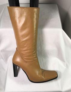 1c47d4d7db4 Charles David Beige All Leather Mid Calf Stiletto Boots Sz 35 5 5 5M EUC