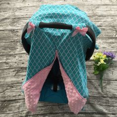 Minky Lined Car Seat Canopy/Cover - Blue Pink Minky