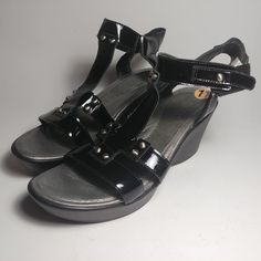 NAOT Flirt Wedge Gladiator Strap Black Leather Size 10/41 Elegant Ladies Sandals #Naot #PlatformsWedges Black Leather Mules, Leather Wedges, Leather Heels, Suede Leather, Ankle Strap Wedges, Shoes Heels Wedges, Wedge Heels, New Shoes, Slip On Shoes