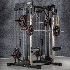 Ideal for a PT studio or home gym, the ATX TRIBAL Multigym features a half rack, smith machine, dual adjustable pulley and pull-up bars in a small footprint that does not feel crowded Pull Up Station, Pull Up Bar, Gym Room At Home, Home Gym Decor, Home Multi Gym, Workout Stations, Half Rack, Smith Machine, Power Rack