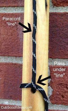 * Handmade Hiking Sticks - very good directions   Cub Scout Ideas