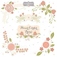 Flower corner, frame clipart by burlapandlace on Creative Market