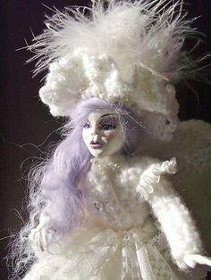 "OOAK Art doll "" Snow Angel "" clay & Crochet unique sculpt. ADSG DMA artist. | eBay"