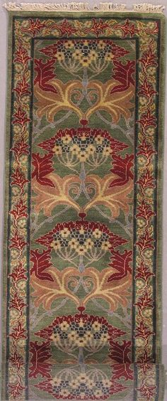 Hand-woven wool runner or area rug in light green, design by William Morris, 3 x 34 | Arts & Crafts