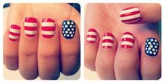 Happy Fourth of July, Wambie girls!  To celebrate, here's a super simple manicure you can do for the holiday. You need: red, white, and blue nail polish, a dotting tool or toothpick, white nail strips (optional). Instructions: Paint 4 nails red. Paint 1 blue. Let them dry. Make vertical white stripes on your red thumb nails, and vertical ones on your other 3 red nails. You can either paint them on or use nail strips to do them. Grab your white polish and dotting tool. Make small dots on y