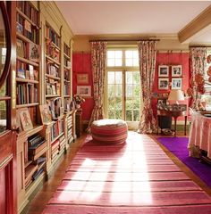 Bookshelves, Bookcase, Home Board, Red Rooms, My Dream Home, Nook, Small Spaces, Victorian, Cottage