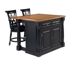 Monarch Kitchen Island In Black With Oak Top And Two Stools