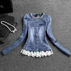 Casaco Denim Jacket with white lace at hem in my closet Look Fashion, Diy Fashion, Fashion Outfits, Womens Fashion, Denim And Lace, Cycling Outfit, Diy Clothing, Look Chic, Refashion