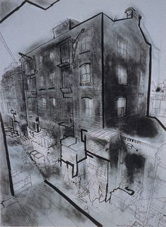 Charcoal Drawing Techniques lucinda rogers ink drawing crayon charcoal london life shoreditch london east end cityscape street scene Building Drawing, Building Art, Ink Drawings, Easy Drawings, Contour Drawings, Drawing Faces, Charcoal Sketch, Charcoal Drawings, Architecture Drawing Sketchbooks
