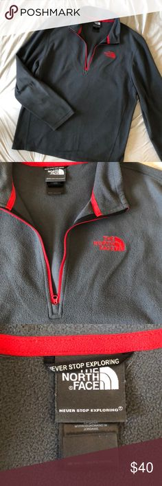 Grey fleece The North Face pullover Great condition, lightly worn. Red accents The North Face Jackets & Coats