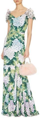 Appliqued Hydrangea Floral-Print-Gown