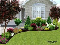 flower bed designs for front of house | Use shrubs /small trees to ...
