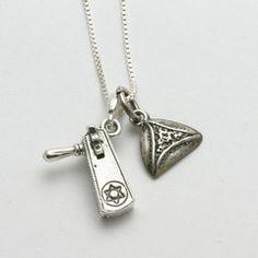 Sterling Silver Purim Charm Necklace Grogger Hamantashen