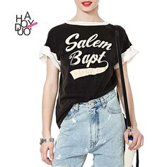 Haoduoyi 2016 Women Basic Short Sleeve O-Neck Letter Print T-shirt Loose Casual Streetwear Contrast Harajuku Tops Tees wholesale