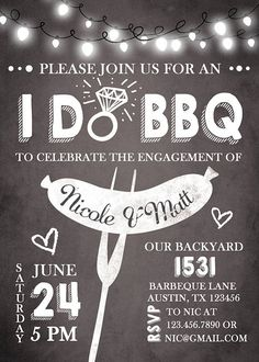 ♥ A perfect way to invite your guests to your engagement party / BBQ! You will receive ready-to-print files! You can just print your file in