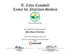 T. Colin Campbell Plant-Based Nutrition Certificate