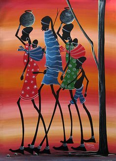 Tinga Tinga art: An East African painting style that originated in Dar es Salaam, Tanzania.