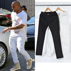 2017 black white pants elastic high quality street fashion slim fitness high street male casual pants jogger men pants skinny