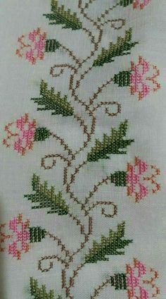 Designs in Machine Embroidery - Stitch Swag - Cozy Dog Suites - Embroidery Design Guide Cross Stitch Rose, Cross Stitch Borders, Cross Stitch Flowers, Cross Stitch Designs, Cross Stitching, Cross Stitch Patterns, Beaded Embroidery, Cross Stitch Embroidery, Embroidery Patterns