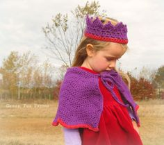 CUSTOM Girls Crochet Princess Crown and Capelet  Boutique Girls Cloak with Matching Crochet Crown MADE to ORDER Princess Costume. $40.00, via Etsy.