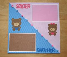 Sister Brother Scrapbook Page - Sister Brother Scrapbook Layout - 12 X 12 Scrapbook - Twins Scrapbook Page - Teddy Bear Page - Siblings AngelBDesigns4You