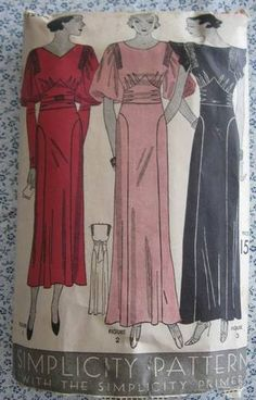 Simplicity 1206 | ca. 1933 Evening Gown - 3 styles