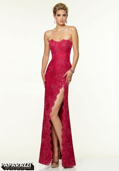 97001 Prom Dresses   Gowns Beaded Stretch Lace   High Front Side Slit Mori  Lee Prom 319172e3cbdd