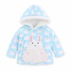 Pureborn Coat for Boys Girls Winter Jacket Cotton Baby Clothes Hoodies Tops New Year Gifts Infant Kids Children Cartoon Rabbit