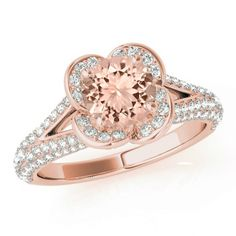 Morganite & Diamond Lotus Flower Engagement Ring 14k Rose Gold - Raven Fine Jewelers - Pave Diamond Ring - Morganite Engagement Rings for Women - Anniversary Ring